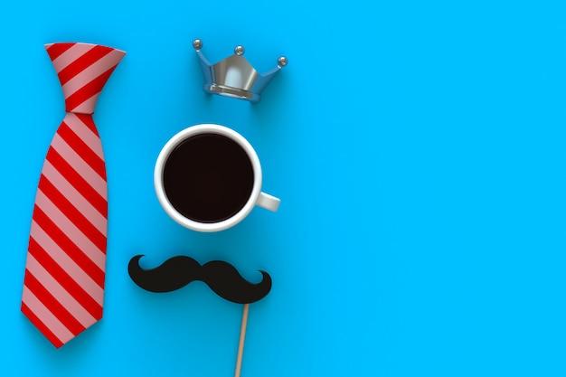 Gelukkig vaderdag-concept met koffie, snor en kroon op blauwe achtergrond