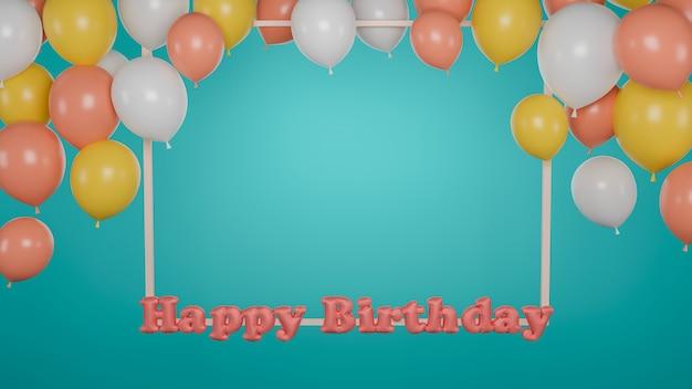 Gelukkig verjaardagsontwerp met een frame en een ballon op groene blackground. 3d-weergave