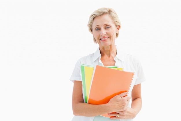 Gelukkig volwassen student bedrijf notebooks