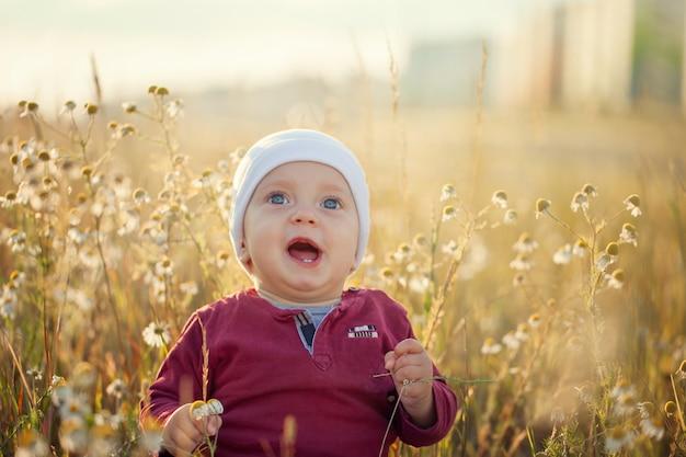 Gelukkig weinig babyjongen die en op een weide op de aard in de zomer zonnige dag zitten glimlachen.