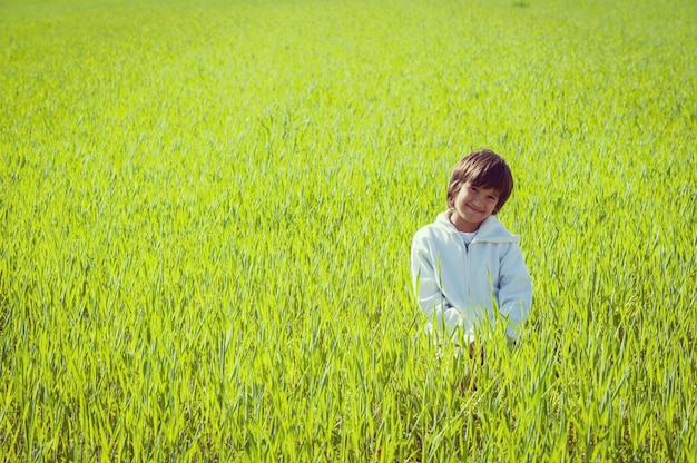 Gelukkig weinig jongen op mooie groene gele grasweide
