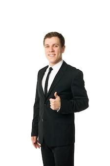 Gelukkig zakenman met thumbs up gebaar, geïsoleerd op wit