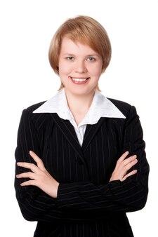 Gelukkig zakenvrouw glimlachend met hand op buste iolated op witte achtergrond