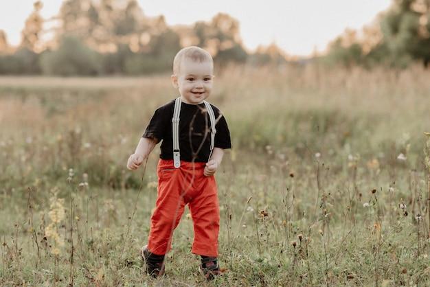 Gelukkige babyjongen die en op gras glimlacht loopt