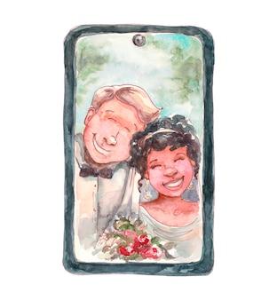 Gelukkige bruidegom met bruid in online huwelijk van de tabletmonitor