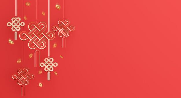 Gelukkige chinese nieuwe jaardecoratie met knoop gouden munt