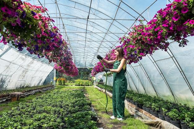Gelukkige eigenaar van een bloemenkwekerij die bloemen water geeft en verzorgt