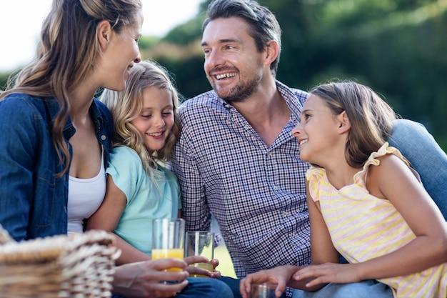 Gelukkige familie die een picknick heeft