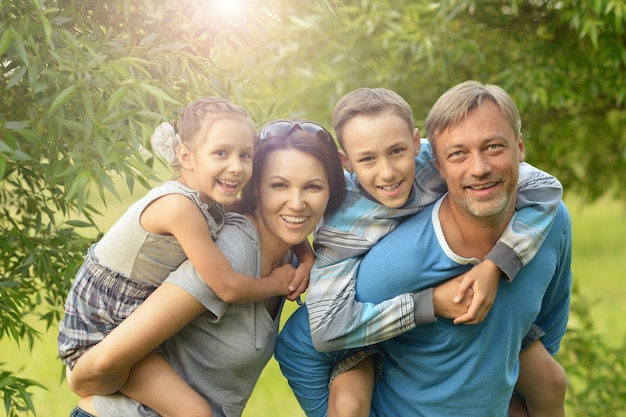 Gelukkige familie die in een zomerpark rust
