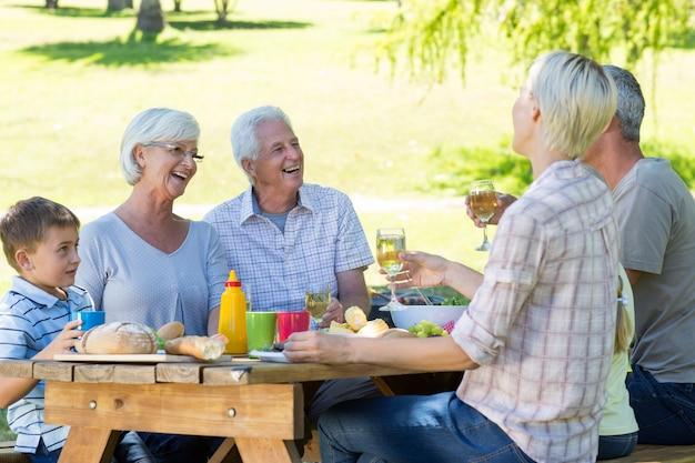 Gelukkige familie die picknick in het park heeft