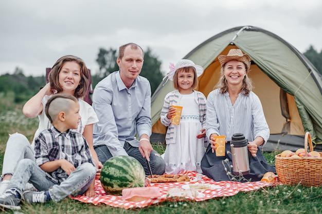Gelukkige familie die picknick in weide op een zonnige dag heeft. familie genieten van kampeervakantie op het platteland