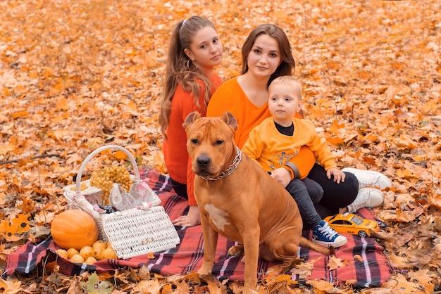 Gelukkige familie in de herfst in het park met een hond