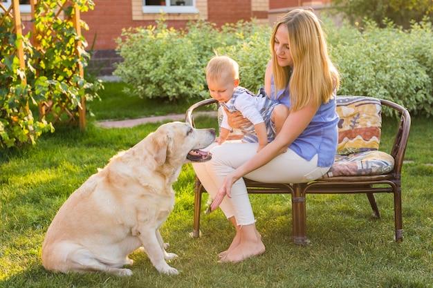 Gelukkige familie spelen met hun hond op een zonnige dag.