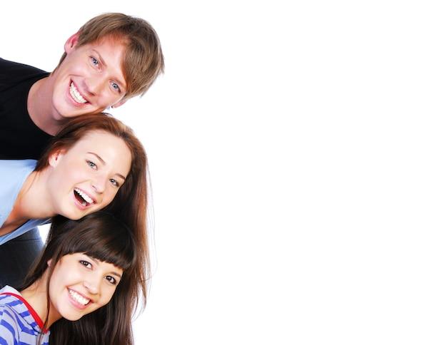 Gelukkige grappige mensen. geïsoleerd op wit