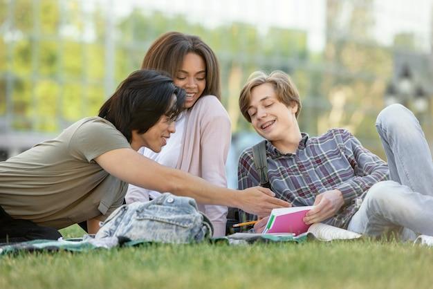 Gelukkige groep multi-etnische studenten die in openlucht bestuderen