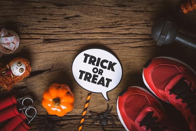 Gelukkige halloween-dag met geschiktheid, oefening, die gezond levensstijlconcept uitwerken.