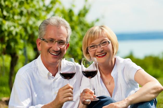 Gelukkige hogere paar het drinken wijn in openlucht
