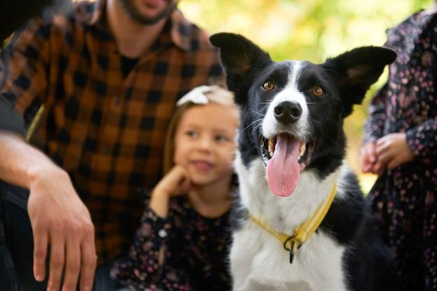 Gelukkige hond en familie op de achtergrond