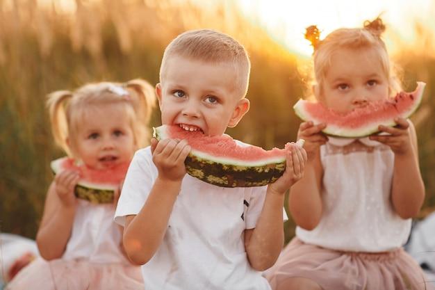 Gelukkige jonge geitjes die watermeloen in de zomer eten bij zonsondergang op het gebied. zomerpicknick. gelukkige jeugd. selectieve aandacht.