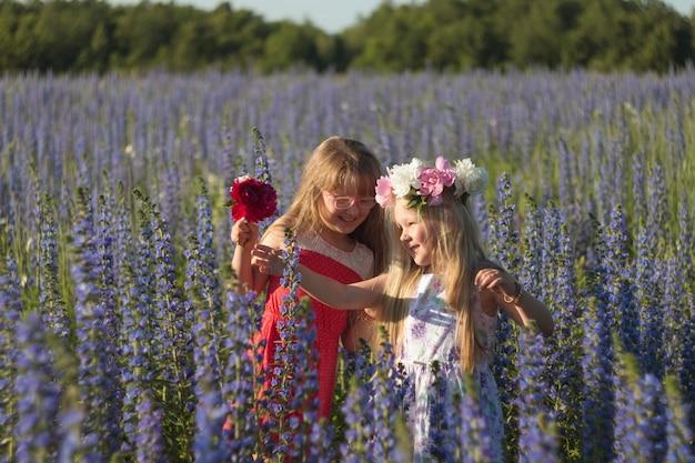 Gelukkige jonge geitjesmeisjes met bloemen in de zomerweide in aard. meisjes in kransen. lachende kinderen.
