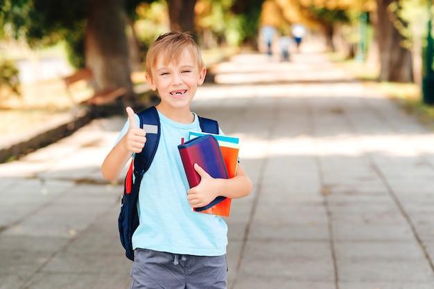 Gelukkige jongen die met rugzak naar school gaat. kind van de basisschool.