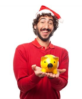 Gelukkige kerel die zijn spaarpot
