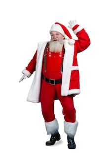 Gelukkige kerstman op witte achtergrond.