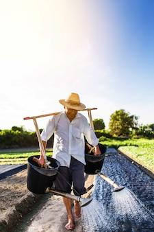 Gelukkige landbouwer het water geven van zijn planten