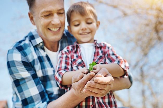 Gelukkige mannelijke familieleden staren naar een handvol aarde met een kiemplant erin en genieten van vrije tijd samen buiten