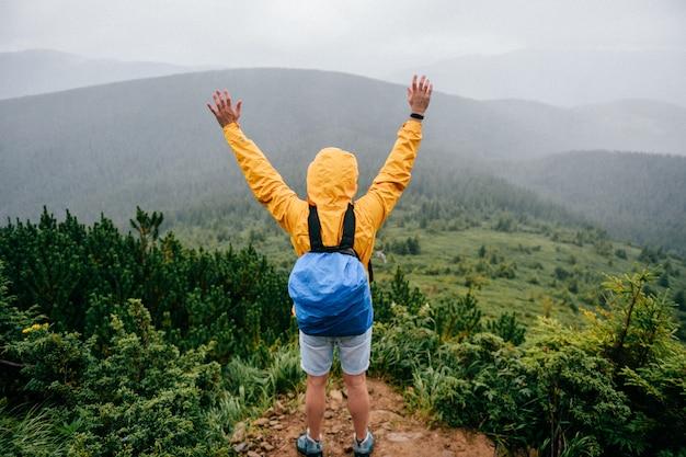 Gelukkige mens die zich bovenop berg bevindt. reiziger geniet van uitzicht op de natuur.
