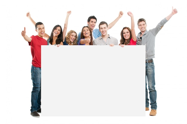 Gelukkige mensen met wit bord
