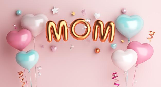 Gelukkige moederdag decoratieachtergrond met moedertekst en ballon