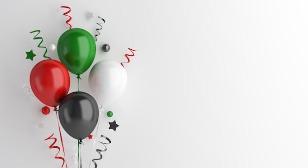 Gelukkige onafhankelijkheidsdag van de decoratie van de verenigde arabische emiraten of koeweit met ballon, exemplaarruimte
