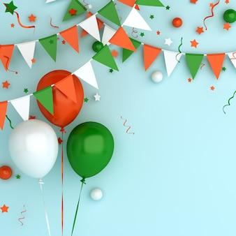 Gelukkige onafhankelijkheidsdag van de decoratie van india of ierland met de vlag van de ballonslinger