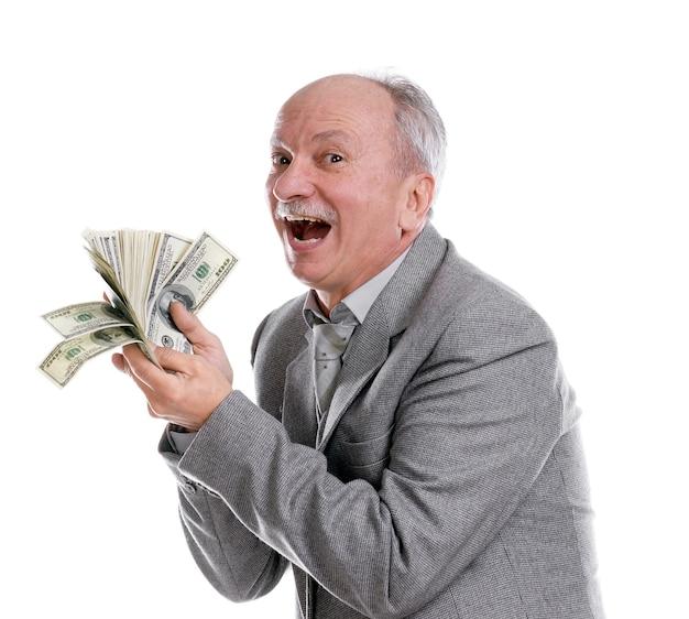 Gelukkige oude man met geïsoleerd geld