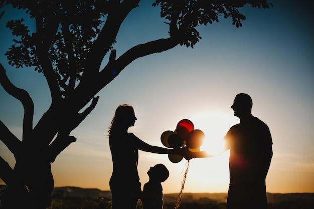 Gelukkige ouders hebben plezier met hun kind op groen grasveld onder de boom