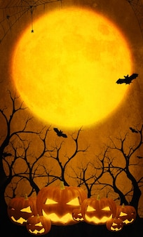 Gelukkige pompoenen op oranje halloween-illustratie met volle maan. vleermuis en spin t