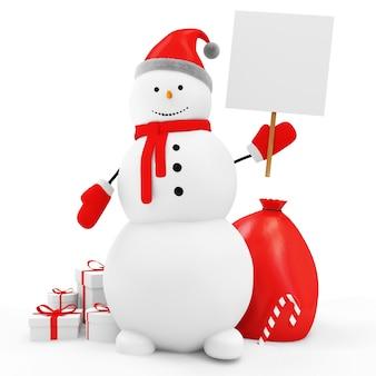 Gelukkige sneeuwman met kerstaccessoires