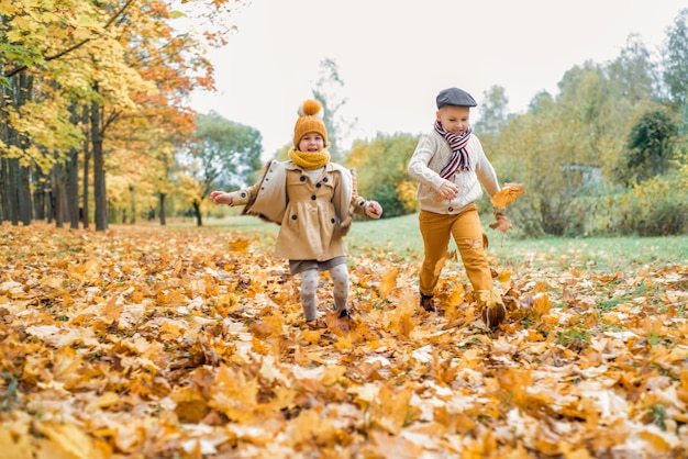 Gelukkige spelende kinderen, herfstpark, warme zonnige herfstdag. kinderen spelen, gouden esdoornbladeren.