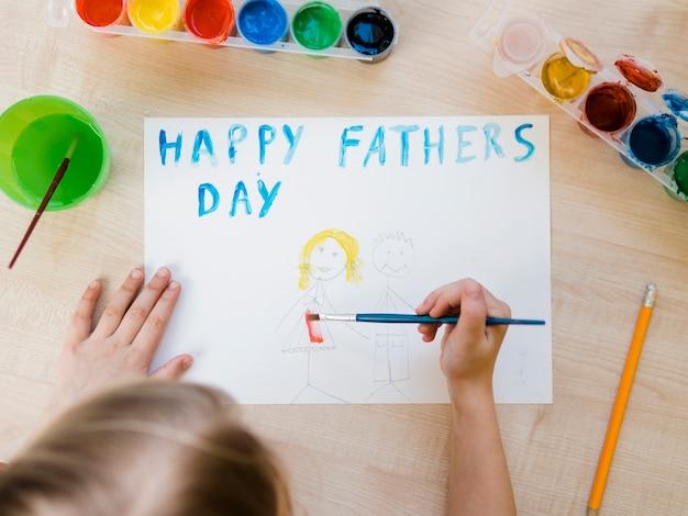 Gelukkige vaderdag tekening bovenaanzicht