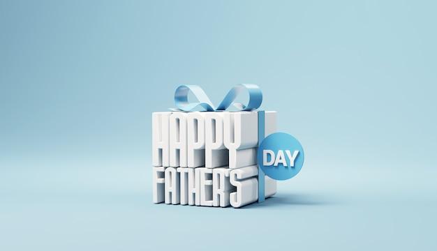Gelukkige vaders dag in geschenkdoos op blauwe achtergrond