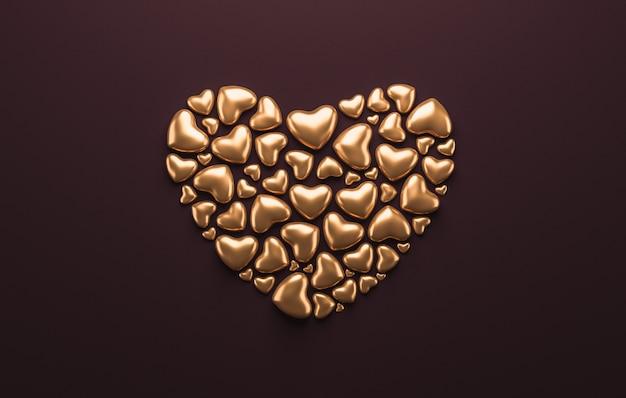 Gelukkige valentijnskaartenachtergrond met abstracte gouden harten. 3d-weergave