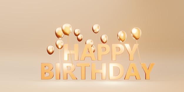 Gelukkige verjaardag bericht achtergrondafbeelding met ballonnen en linten 3d illustratie