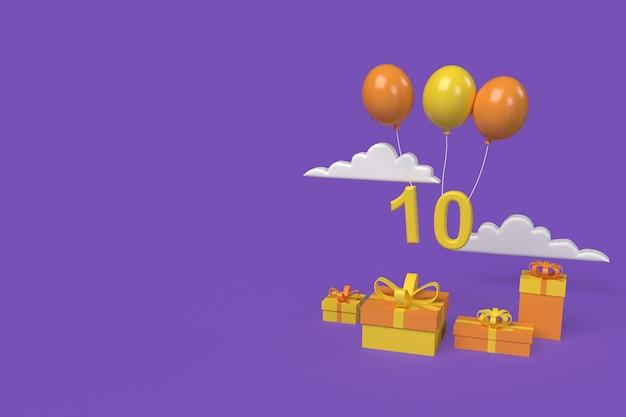 Gelukkige verjaardag ontwerp achtergrond. 3d-rendering illustratie