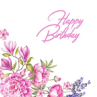 Gelukkige verjaardag wenskaart boeket van roze bloemen.