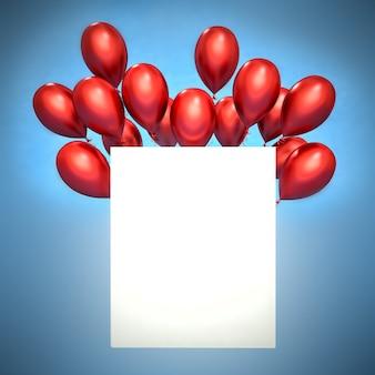 Gelukkige verjaardag-wenskaart met 3d-rode ballonnen