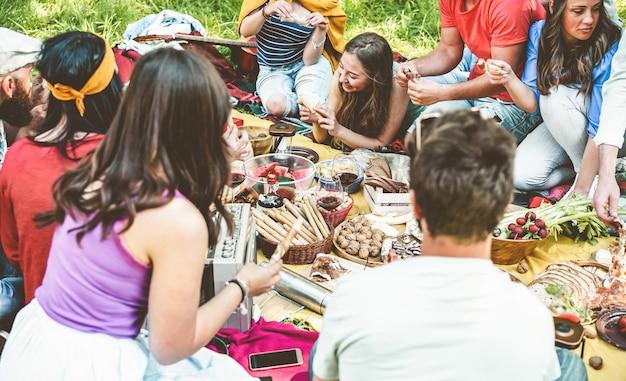 Gelukkige vrienden die en wijn eten drinken bij picknick openlucht