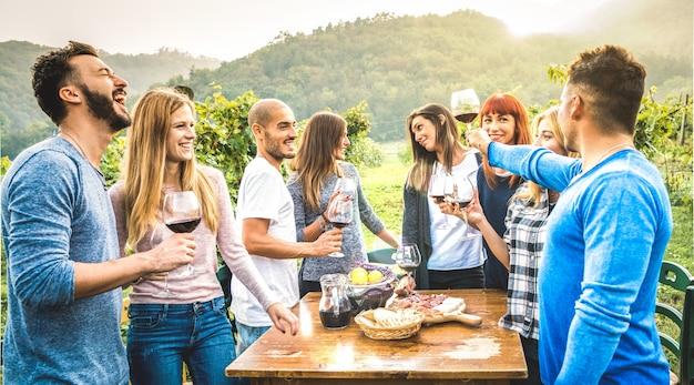 Gelukkige vrienden die pret hebben die rode wijn in wijngaard drinken