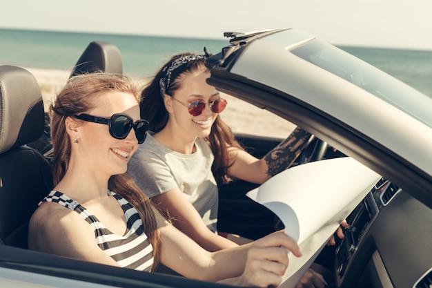 Gelukkige vrienden in de auto