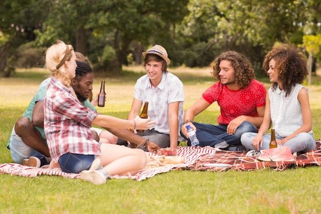 Gelukkige vrienden in het park die picknick hebben